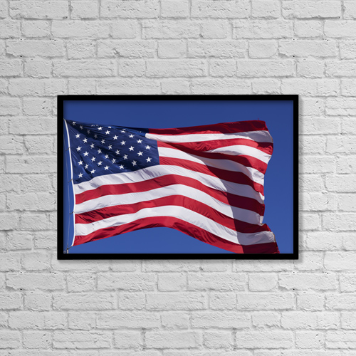 "Printscapes Wall Art: 18"" x 12"" Canvas Print With Black Frame - American Flag by Keith Levit"