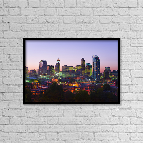 """Printscapes Wall Art: 18"""" x 12"""" Canvas Print With Black Frame - Skyline At Dusk, Calgary, Alberta by Yves Marcoux"""