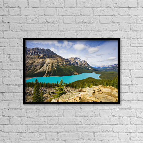 "Printscapes Wall Art: 18"" x 12"" Canvas Print With Black Frame - Peyto Lake, Banff National Park, Alberta by Yves Marcoux"