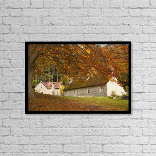 "Printscapes Wall Art: 18"" x 12"" Canvas Print With Black Frame - Houses With Trees In Autumn Colours by John Short"