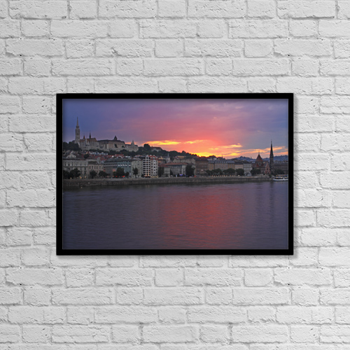 "Printscapes Wall Art: 18"" x 12"" Canvas Print With Black Frame - Sunset Over Danube River; Budapest Hungary by Trish Punch"