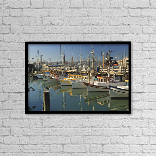 "Printscapes Wall Art: 18"" x 12"" Canvas Print With Black Frame - Fishermen's Terminal by Stuart Westmorland"