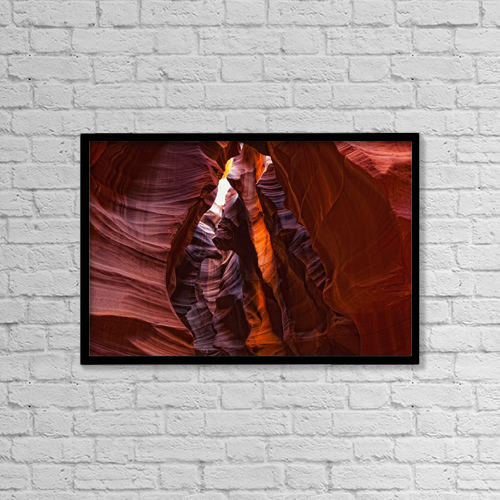 "Printscapes Wall Art: 18"" x 12"" Canvas Print With Black Frame - Upper Antelope Canyon, Arizona by Robert Postma"