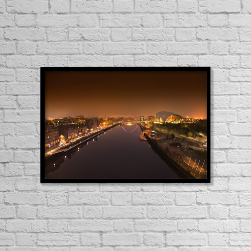 "Printscapes Wall Art: 18"" x 12"" Canvas Print With Black Frame - City And River Tyne Illuminated At Night by John Short"