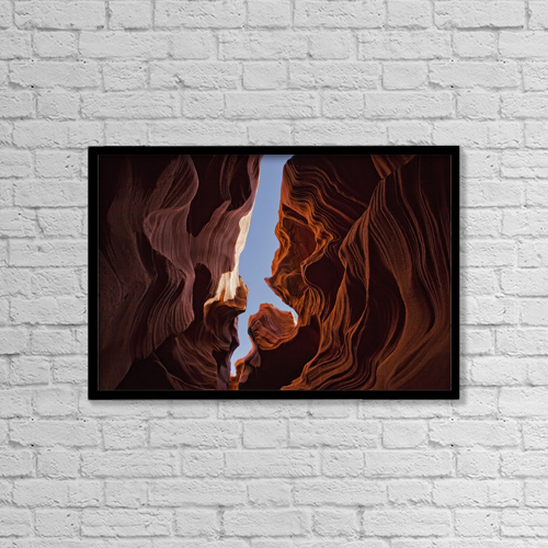 "Printscapes Wall Art: 18"" x 12"" Canvas Print With Black Frame - Lower Antelope Canyon, Arizona by Robert Postma"