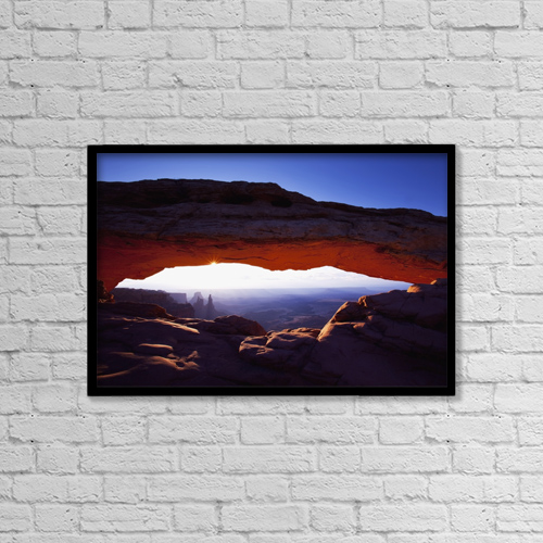 """Printscapes Wall Art: 18"""" x 12"""" Canvas Print With Black Frame - Sunrise At Mesa Arch by Richard Wear"""