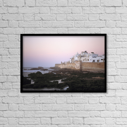 "Printscapes Wall Art: 18"" x 12"" Canvas Print With Black Frame - Essaouira At Dusk, Morocco by Ian Cumming"