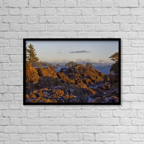 "Printscapes Wall Art: 18"" x 12"" Canvas Print With Black Frame - Rocky Coastline With Snow by Robert Postma"