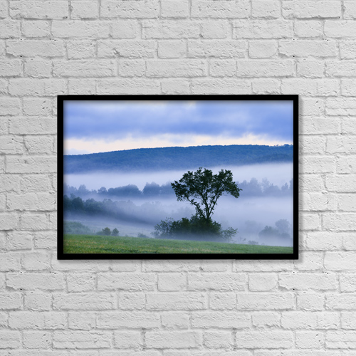 """Printscapes Wall Art: 18"""" x 12"""" Canvas Print With Black Frame - Tree And Fog At Dawn by Yves Marcoux"""