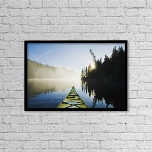 "Printscapes Wall Art: 18"" x 12"" Canvas Print With Black Frame - Front Of Kayak On Rushing River by Dave Reede"