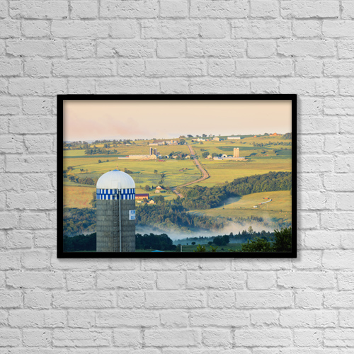 "Printscapes Wall Art: 18"" x 12"" Canvas Print With Black Frame - Farm Structure And Landscape by Yves Marcoux"