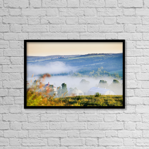 "Printscapes Wall Art: 18"" x 12"" Canvas Print With Black Frame - Farm Structures Through Fog by Yves Marcoux"