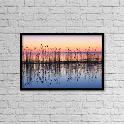 """Printscapes Wall Art: 18"""" x 12"""" Canvas Print With Black Frame - Reeds Reflected In Water At Dusk by Yves Marcoux"""