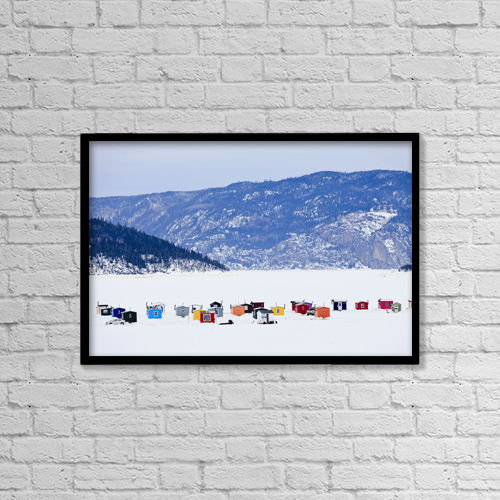 "Printscapes Wall Art: 18"" x 12"" Canvas Print With Black Frame - Ice Fishing Huts On Saguenay River by Yves Marcoux"