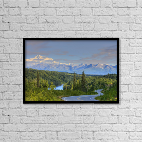 "Printscapes Wall Art: 18"" x 12"" Canvas Print With Black Frame - Scenic View Of Mt by Mike Criss"