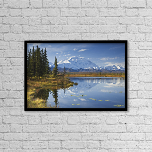 "Printscapes Wall Art: 18"" x 12"" Canvas Print With Black Frame - The North Face And Peak Of Mt by John Delapp"