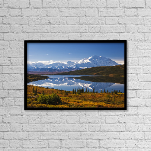 """Printscapes Wall Art: 18"""" x 12"""" Canvas Print With Black Frame - Scenic View Of Mt by Lynn Wegener"""