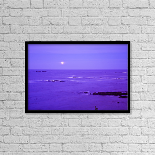 "Printscapes Wall Art: 18"" x 12"" Canvas Print With Black Frame - Moon Rises Over Monashka Bay At Ft by Michael DeYoung"