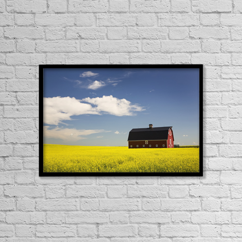 """Printscapes Wall Art: 18"""" x 12"""" Canvas Print With Black Frame - Farm Structures by Michael Interisano"""