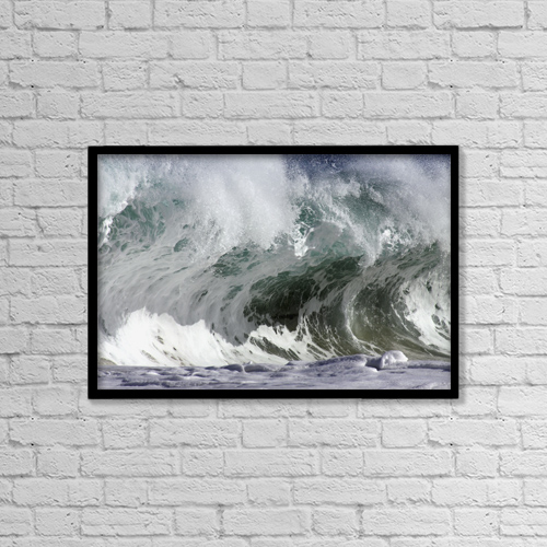 "Printscapes Wall Art: 18"" x 12"" Canvas Print With Black Frame - Hawaii, Big powerful wave break by Vince Cavataio"