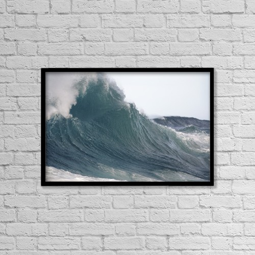 """Printscapes Wall Art: 18"""" x 12"""" Canvas Print With Black Frame - Hawaii, Big powerful wave break by Vince Cavataio"""