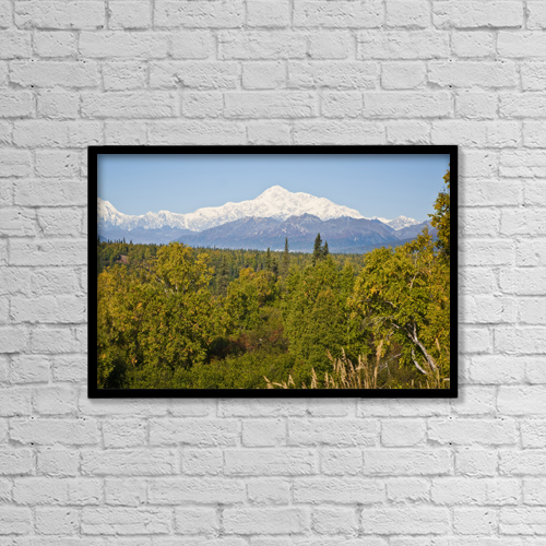 "Printscapes Wall Art: 18"" x 12"" Canvas Print With Black Frame - Southside View Of Mt by Jeff Schultz"