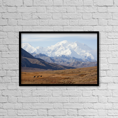 "Printscapes Wall Art: 18"" x 12"" Canvas Print With Black Frame - Three Caribou Run Thru The Tundra With Mt by Doug Lindstrand"