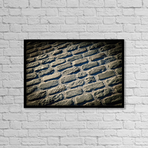 "Printscapes Wall Art: 18"" x 12"" Canvas Print With Black Frame - Pattern of stones on a street by Carlos Sanchez Pereyra"