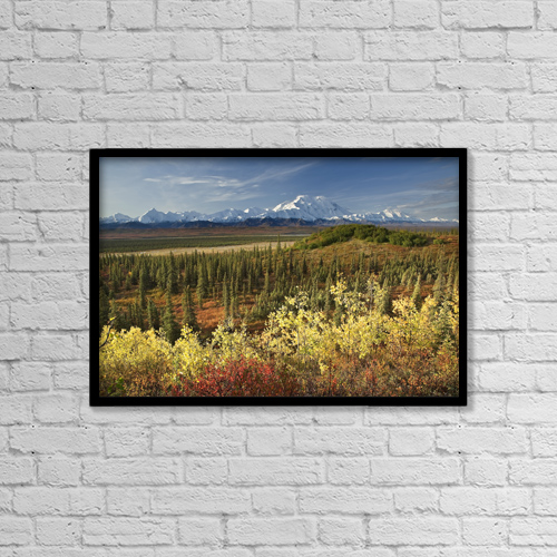 "Printscapes Wall Art: 18"" x 12"" Canvas Print With Black Frame - Scenic View Of Mt by John Delapp"