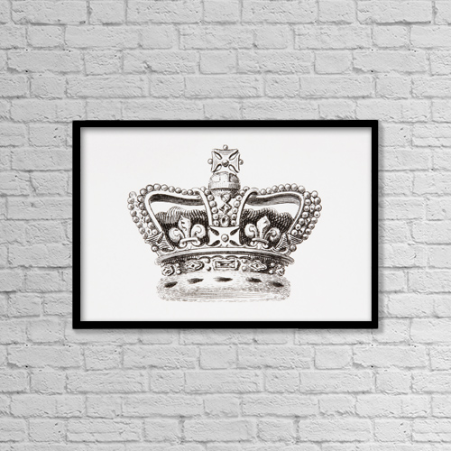 "Printscapes Wall Art: 18"" x 12"" Canvas Print With Black Frame - The Crown Of England by Ken Welsh"