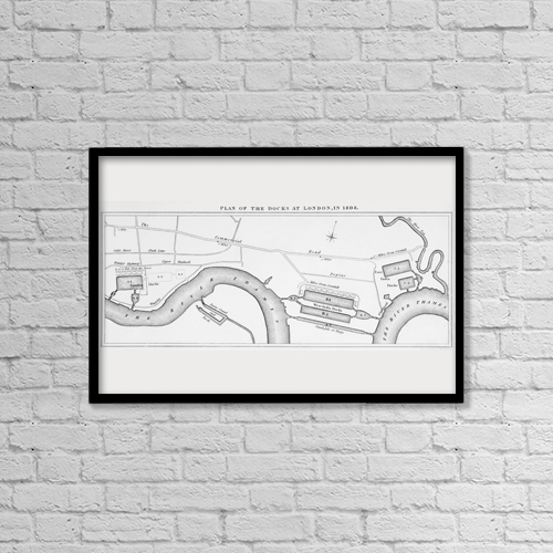 "Printscapes Wall Art: 18"" x 12"" Canvas Print With Black Frame - Plan Of London Docks As They Were In 1808 by Ken Welsh"