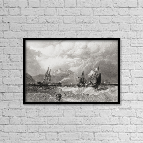 "Printscapes Wall Art: 18"" x 12"" Canvas Print With Black Frame - Dover, Kent, England In The Early 19Th Century by Ken Welsh"