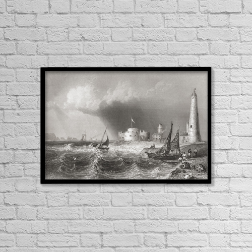 "Printscapes Wall Art: 18"" x 12"" Canvas Print With Black Frame - Hurst Castle, England In The 19Th Century by Ken Welsh"