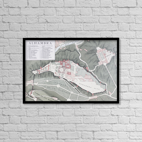 "Printscapes Wall Art: 18"" x 12"" Canvas Print With Black Frame - Granada, Spain by Ken Welsh"