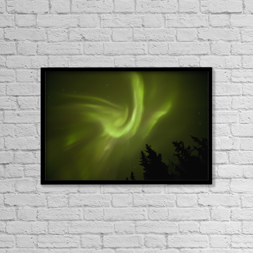 "Printscapes Wall Art: 18"" x 12"" Canvas Print With Black Frame - Aurora borealis dances over annie lake by Robert Postma"