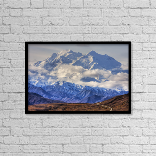 """Printscapes Wall Art: 18"""" x 12"""" Canvas Print With Black Frame - Scenic View Of Mt by Mike Criss"""