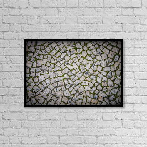 "Printscapes Wall Art: 18"" x 12"" Canvas Print With Black Frame - Cobbled street in chiado district by Carlos Sanchez Pereyra"