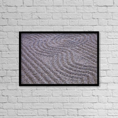 "Printscapes Wall Art: 18"" x 12"" Canvas Print With Black Frame - Zen garden at japanese gardens by Carlos Sanchez Pereyra"