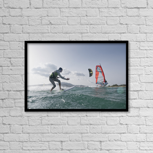"Printscapes Wall Art: 18"" x 12"" Canvas Print With Black Frame - Kitesurfer and windsurfer along the coast by Ben Welsh"