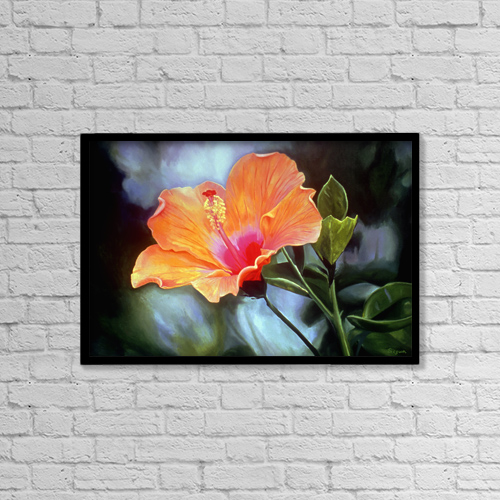 "Printscapes Wall Art: 18"" x 12"" Canvas Print With Black Frame - Bright Orange Hibiscus Flower. Oil Painting by Fay Biegun"