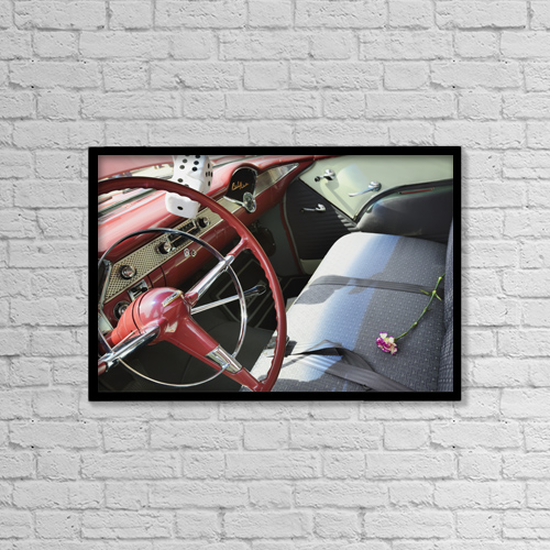 "Printscapes Wall Art: 18"" x 12"" Canvas Print With Black Frame - Interior of chevrolet bel air by Peter Carroll"