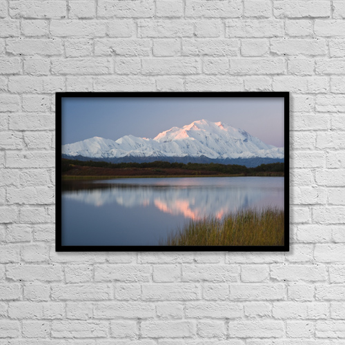 "Printscapes Wall Art: 18"" x 12"" Canvas Print With Black Frame - Scenic View Of Mt by Lynn Wegener"