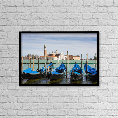 "Printscapes Wall Art: 18"" x 12"" Canvas Print With Black Frame - Boats anchored at marina; Venice, Italy by Richard Desmarais"