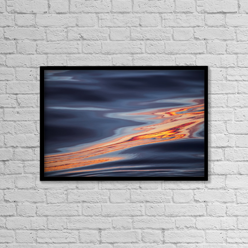 "Printscapes Wall Art: 18"" x 12"" Canvas Print With Black Frame - Sunset during late summer on west coast by Toby Adamson"