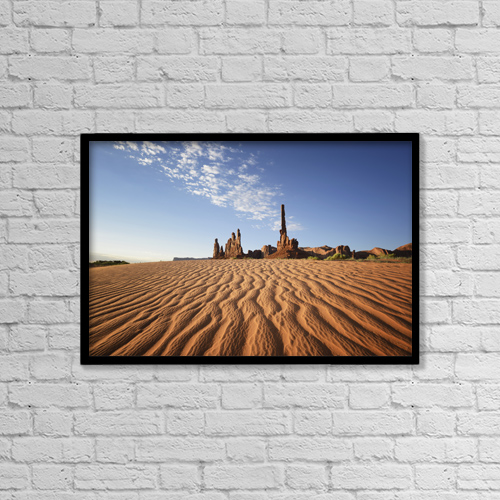 "Printscapes Wall Art: 18"" x 12"" Canvas Print With Black Frame - Sand Ripples And Rock Formation by Peter Carroll"