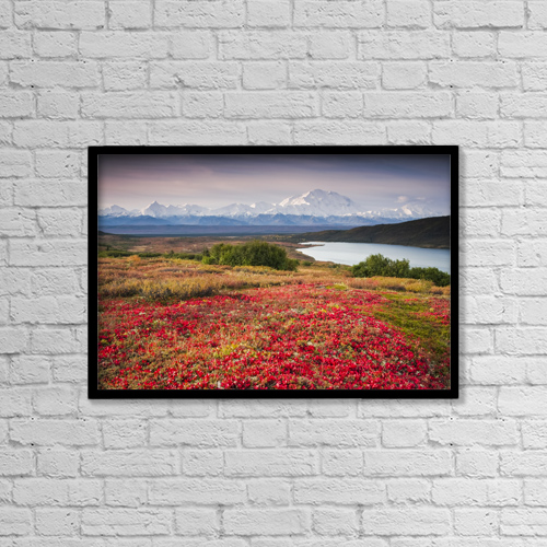 """Printscapes Wall Art: 18"""" x 12"""" Canvas Print With Black Frame - Early Morning View Of Mt by Lynn Wegener"""