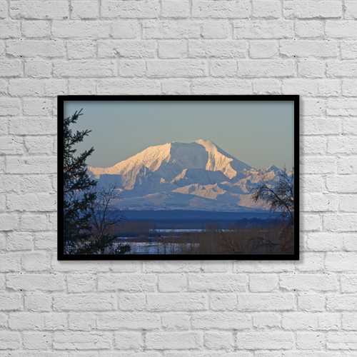"Printscapes Wall Art: 18"" x 12"" Canvas Print With Black Frame - Caught Sunrise On Mt by Mike Criss"