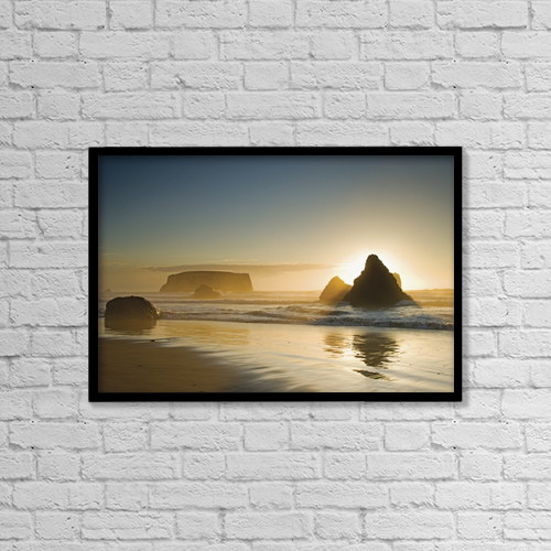 "Printscapes Wall Art: 18"" x 12"" Canvas Print With Black Frame - Sunset behind offshore rocks by Philippe Widling"