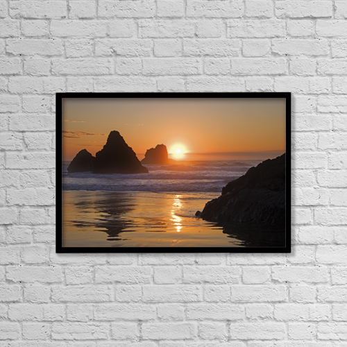 "Printscapes Wall Art: 18"" x 12"" Canvas Print With Black Frame - Orange sunset behind offshore rocks by Philippe Widling"