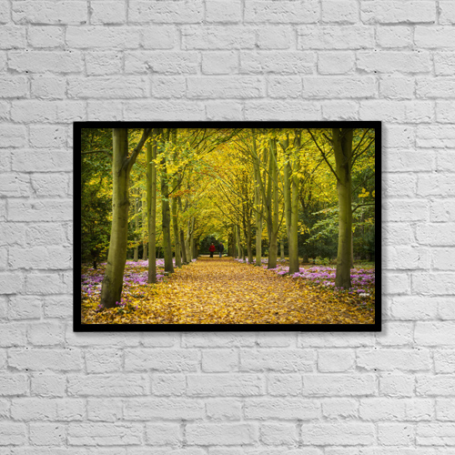 "Printscapes Wall Art: 18"" x 12"" Canvas Print With Black Frame - Couple Walking Along Avenue Of Beech Trees by Ian Cumming"